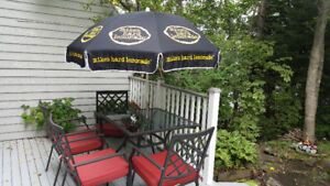 Large patio umbrella, stand and base