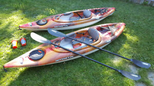 2 Pelican 10' kayaks for one low price. 1 year old.