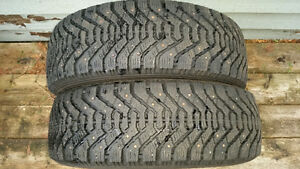 2) P185/65R14 Good Year Nordic Studded Winter Tires
