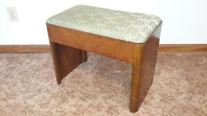 "Vintage Solid Hardwood Bench with Upholstered Seat 12"" d X 22"" w"