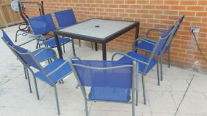 Patio Furniture, Table and 8 Chairs.