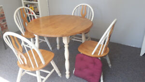 """Cottage Kitchen solid birch round table, 42"""" with two leafs"""
