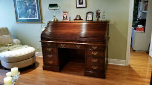 Sligh Vintage Cherry Roll Top Desk & Optional Leather Chair