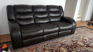 Sofa cuir Brun/Brown leather couch 3 places inclinable reclining