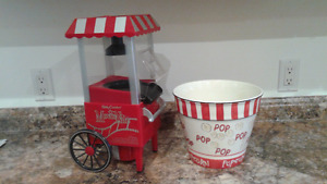 Popcorn popper and large popcorn bowl