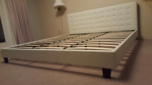 Brand NEW #301 King size White Faux Leather Bed Frame