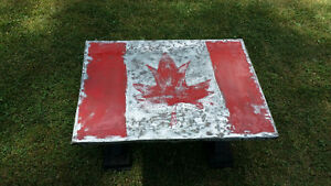 "Funky tin-topped ""Canada"" coffee table - reclaimed materials"