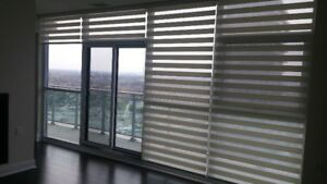 ZEBRA SHADES, ROLLER SHADES, FAUX WOOD AND VERTICAL BLINDS
