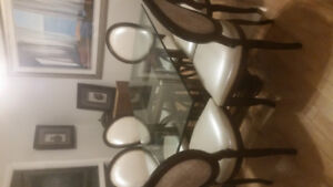 Glass/wood dining kitchen table with 6 chairs