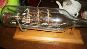 Ship in a bottle, signed,   antique