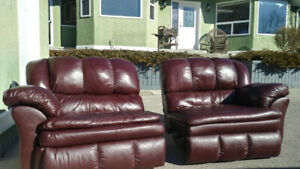 Leather type recliner couch