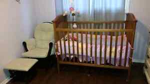 Crib/ Mattress and Rocking Chair with Ottoman