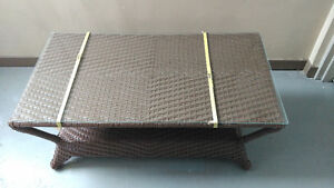 Brand new wicker coffee table and side table