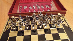 Large Brass Chess Board & Chess Pieces $245