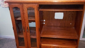 Solid oak entertainment centre