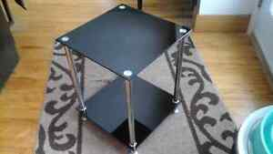 MODERN BLACK GLASS CHROME SIDE TABLE