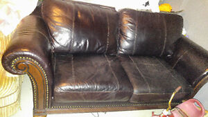 Leather couch and 2 chairs