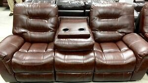 New 2pc reclining console love seat, drop table sofa, only 1800!