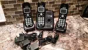 VTech DECT 6.0 3-Handset Cordless Phone With Answering Machine (