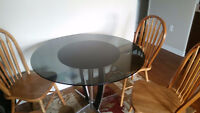 Black Glass Table with Pedestal and 4 Chairs