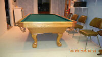 Pool Table with cues, balls and cue rack