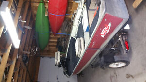 1980's Lund 14ft trailer and Yamaha 15hp motor