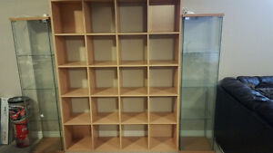 Ikea TV Stand and Curio Cabinets