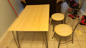 Wooden Kitchen Table / 2 Chairs