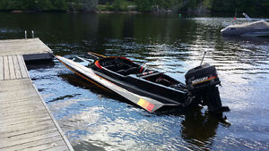 """18'6"""" ft Modified V Bottom Fiberglass Boat and Trailer and Cover"""