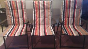 Three beach chairs