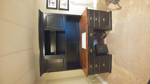 Solid maple desk with hutch
