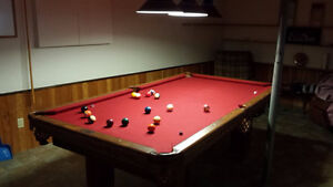 Pool Table with Lamps & Cues