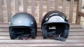 ×2 Motorcycle Motorbike Open Face Helmets XL Black