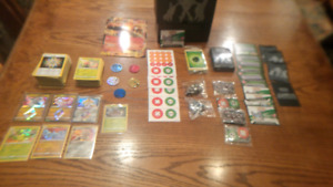 Pokemon cards, dice, sleeves, online cards codes and promo card