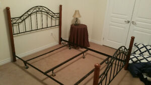 Queen Complete Metal Bed Frame with Wood Post Headboard and Foot