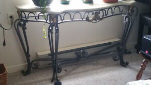 Marble like Console table with Metal legs