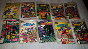 Lot of 10 Classic Spider Man Comic Books Web of Spiderman
