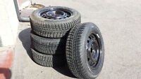 Set of four New Winter Tires and steel wheels 195/65-15  5x112