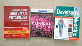 Medical textbooks and flashcards