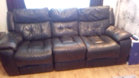 2 x black leather recliner sofas for sale