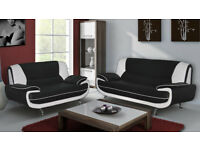 BRAND NEW CAROL 3+2 SEATER LEATHER SOFA- BLACK AND WHITE