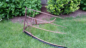 Re-finished Large Antique Wooden Farm Grain Cradle Scythe