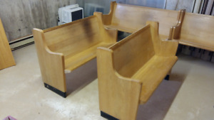 """Solid Oak church pews- 48"""" up to 14'.  Heaters, light fixtures"""