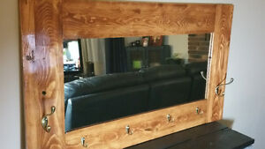 Handcrafted Mirror with Hooks