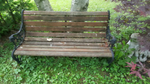 Wood and iron bench