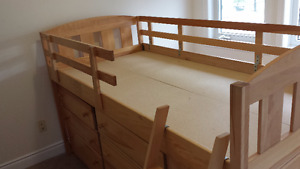 Loft Bed with Two Dressers and Storage Underneath