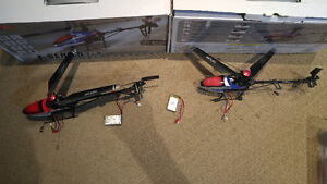 2 RC helicopter mjxf46B plus balancing battery charger + extras