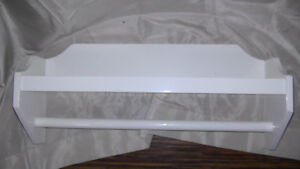 White Bathroom Wall Shelf with Towel Bar-still available Dec. 8