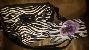 Zebra Print Purse W/ Coin Pouch & Wallet