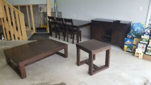 Complete Dining Set w/ 6 Chairs, Bar and Matching Coffee Tables